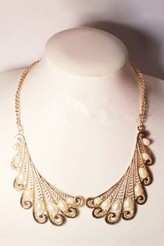 Wing Collar Shape Bead Embellished Necklace