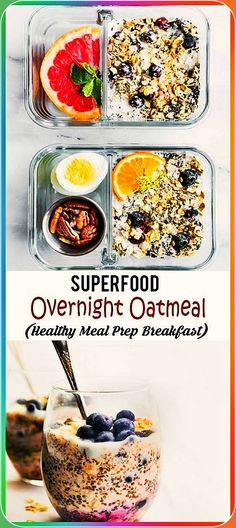 Superfood Overnight Oatmeal is a healthy meal prep breakfast idea. This vegan and gluten free breakfast recipe for Blueberries and Cream Overnight Oatmeal can be made 2 ways! Enjoy it immediately, or meal prep it for later in the week. Healthy Smoothies, Healthy Drinks, Healthy Recipes, Easy Recipes, Smoothie Recipes, Diet Recipes, Detox Drinks, Popular Recipes, Healthy Foods