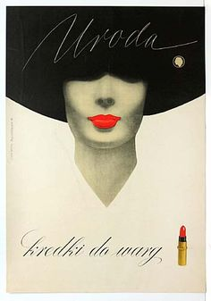 Title: Uroda kredki do wary   1962    Artist: Stanislaw Januszewska    Polish advertising poster for Uroda lipstick. Rare Posters
