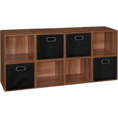 Regency Niche Cubo Storage Set of 8 Cubes, Warm Cherry and 4 Canvas Bins, Multiple Colors, Assorted