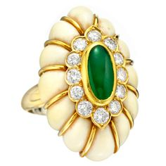 VAN CLEEF & ARPELS A Jade and Conch Ring | From a unique collection of vintage cocktail rings at http://www.1stdibs.com/jewelry/rings/cocktail-rings/