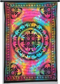 Indian Elephant Tie Dye Hippie Gypsy Bohemian Psychedelic Multi-Color Twin Handmade Tapestry - 100 % Cotton - Highest Quality & Pure Handmade TwinTapestries