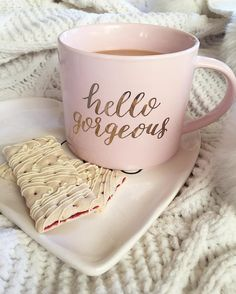 Stoneware Hello Gorgeous Stackable Mug Pink/Gold - Threshold™ Pink Coffee Mugs, Coffee In Bed, Unique Coffee Mugs, Funny Coffee Mugs, Coffee Humor, Tea Mugs, Coffee Cups, Coffee Shop, Coffee Maker