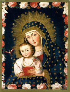 Madonna and Child with Bird ca 1765 - Ignacio Chacon, active 1745-75, Cuzco, Peru.