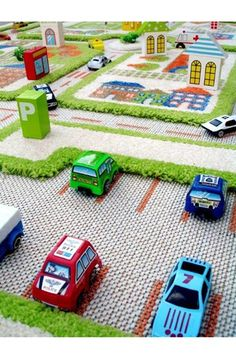 Boys car rug - this is SO great - I want this for my kids rooms!  They would play with this for HOURS!!!!