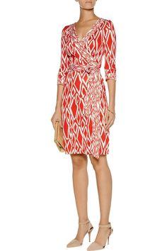 Diane Von Furstenberg Dress Banded Julian Silk Wrap Ikat Stamp Coral Size 10.