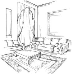 Bathroom Rugs For Functional Decor – Home Decor Do It Yourself Drawing Room Design, Drawing Interior, Interior Design Sketches, Interior Design Software, Interior Rendering, Perspective Drawing Lessons, Perspective Art, House Colouring Pages, House Sketch