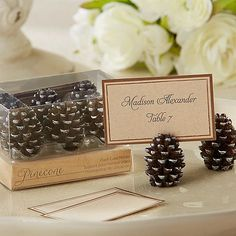 Greet guests as they walk into your rustic wedding reception with realistic looking pine cone place card holders.  Sold in sets of 6.