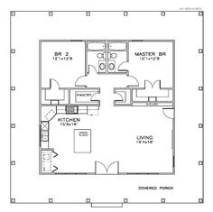**First Floor Plan of Cottage Florida Southern House Plan to. - House Plans, Home Plan Designs, Floor Plans and Blueprints The Plan, How To Plan, Plan Plan, 2 Bedroom House Plans, Tiny House Plans, Small House Plans Under 1000 Sq Ft, Guest House Plans, Small Floor Plans, Tiny Cottage Floor Plans