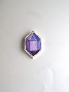 Purple geometric brooch hand embroidered faux by AnAstridEndeavor