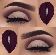 Plum eyeshadow and lipstick