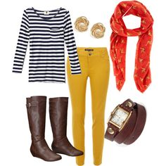 """""""Navy Stripes and Mustard Skinny Jeans"""""""