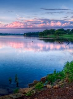 beautiful - Shawnee Lake (photo: Christie King). Pink violet clouds' reflection upon the blue lake.