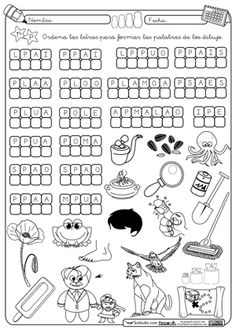 Ordenar letra P Spanish Worksheets, Spanish Teaching Resources, Spanish Vocabulary, Spanish Words, Home Learning, Body Systems, School Counselor, Kids Education, Pre School