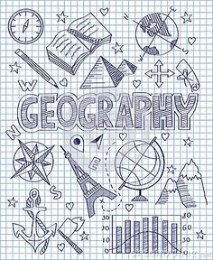 Photo about Vector illustration of Hand drawn Geography set. Illustration of direction, collection, diagram - 49512592 Decorate Notebook, Diy Notebook, Notebook Covers, Doodle Icon, Doodle Art, Project Cover Page, School Binder Covers, School Book Covers, Sketch Note