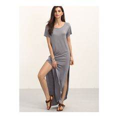 SheIn(sheinside) Gray Short Sleeve Split Maxi Dress (230 MXN) ❤ liked on Polyvore featuring dresses, grey, short sleeve shift dress, gray maxi dress, t shirt dress, t-shirt dresses and grey t-shirt dresses