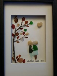 Sea glass art, Sea glass loving couple, Personalized art, engagement gift, anniversary gift by madebynatureandme on Etsy