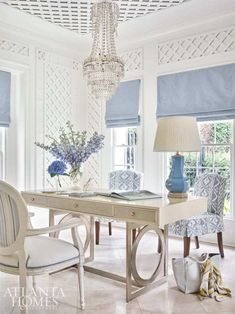The lady's parlor doubles as a home office with a Bernhardt desk and slipcover chairs featuring an eye-catching Cowtan & Tout fabric. Home Office Space, Home Office Design, Home Office Furniture, Home Office Decor, House Design, Desk Space, Office Ideas, Feminine Office Decor, Shabby Chic Office