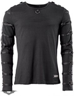 Queen Of Darkness - Mens Long Sleeve Goth Top w/ Rings & Straps