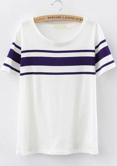 White and Blue Short Sleeve Striped Shirt