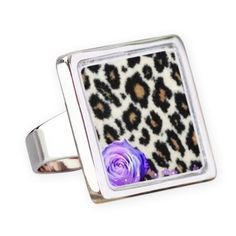Cheetah And Purple Flower Square Ring