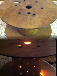 Cable reel lamp table