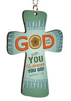 """Cool & Custom {6"""" Bead Chain Hang} Single Unit of Rear View Mirror Hanging Ornament Decoration w/ Abstract Christian Cross God Will Be With You Design [Suzuki Green & Orange Colored]"""