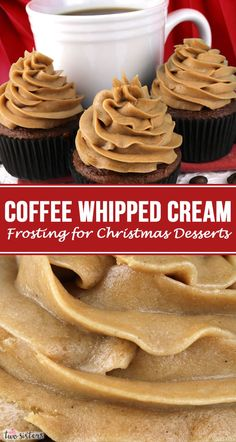 The Best Coffee Whipped Cream Frosting Christmas Desserts, Christmas Treats, Christmas Recipes, Christmas Parties, Holiday Recipes, Holiday Treats, Christmas Baking, Healthy Sweet Snacks, Sweet Treats