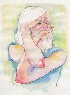 by Adara Sanchez Figure Painting, Figure Drawing, Adara Sanchez Anguiano, Watercolor Illustration, Watercolor Art, Gouache, Human Body Art, Fan Art, Life Drawing