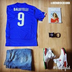 Today's top #outfitgrid is by @henrocksbb. #Italia #MarioBalotelli #Jersey, #BBC #Denim, and #Jordan #Spizike #OG #flatlay #flatlayapp #flatlays @flatlayapp
