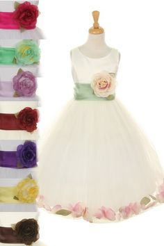 1bf1c632e8 Classic Ivory Flower Petal Dress with Sash   30 Colors. Toddler Flower Girl  DressesWhite ...