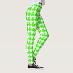 40% off with code: STPADDYPARTY #StPatricksDay Green Shamrocks on White Leggings