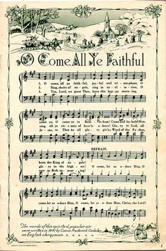 Oh Come All Ye Faithful vintage sheet music