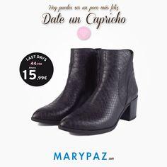 Hoy VIERNES ¡Te mereces un CAPRICHO! ►►► LAST DAYS FROM 5,99 € Aprovéchate de los ÚLTIMOS DÍAS desde 5,99 € en muchos de nuestros artículos en TIENDA y ONLINE www.marypaz.com  #dateuncapricho #caprichodeviernes    Compra ya este BOTÍN REBAJADO aquí ► http://www.marypaz.com/tienda-online/botin-de-tacon-punta-fina-con-elastico-53655.html?sku=72826-35