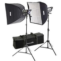 "Interfit Photographic INT441 Stellar X Twin Softbox Kit, with Two 600 watt Second Monolights, 24"" Softboxes, Stands & Carry Case"