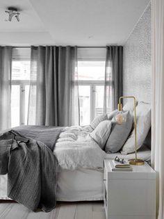 Scandinavian bedroom in a grey palette with soft textiles and golden d. Scandinavian bedroom in a grey palette with soft textiles and golden d. Gray Bedroom, Home Bedroom, Modern Bedroom, Bedroom Decor, Bedroom Ideas, Bedroom Inspo, Design Bedroom, Beautiful Bedrooms For Couples, Scandinavian Bedroom