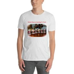 Santa Claus Short-Sleeve Unisex T-Shirt Santa Claus Is Coming To Town, How To Make, How To Wear, Unisex, Tees, Sleeves, Cotton, Mens Tops, T Shirt