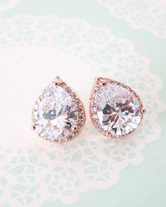 Perfect bridal earrings :)  Rose Gold Luxe Teardrop Ear stud by ColorMeMissy