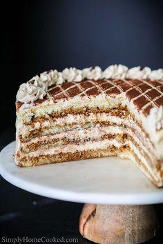 Moist sponge cake soaked in coffee liqueur and layered between a rich mascarpone based cream. This tiramisu cake is guaranteed to become a new favorite. Bolo Tiramisu, Tiramisu Recipe, Italian Cake, Italian Desserts, Sweet Recipes, Cake Recipes, Pumpkin Dessert, Pumpkin Cheesecake, Tiramisu Cheesecake