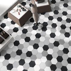 SomerTile 8.625x9.875-inch Textilis Black Hex Porcelain Floor and Wall Tile (Case of 25) (Textilis Black Hex)