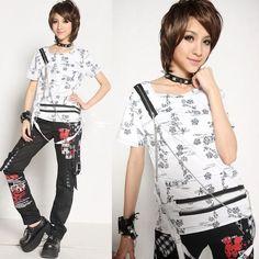 Alternative White Cyber Punk Rock Emo Fashion Clothing Top T Shirt SKU-11409138