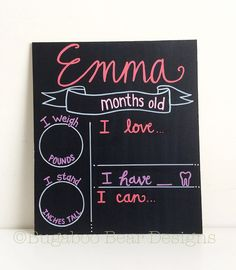 Monthly Baby Milestones Chalkboard, Baby Photo Prop, Reusable Chalkboard, Hand Painted, Personalized Chalkboard, Baby Shower Gift, New Baby by BugabooBearDesigns on Etsy https://www.etsy.com/listing/229738995/monthly-baby-milestones-chalkboard-baby