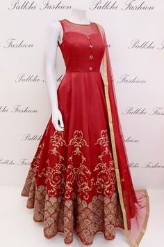 Handwork Maroon Silk Outfit With Embossed Design Indian Fashion Dresses, Frock Fashion, Indian Gowns Dresses, Dress Indian Style, Indian Designer Outfits, Indian Outfits, Designer Dresses, Indian Wear, Stylish Dress Designs