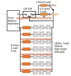 The post explains how to make a LED halogen lamp replacement circuit for conventional motorcycle halogen lamp fitting.