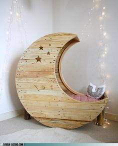 Amazing and beautiful wooden crescent moon child's bed. Do you think they make this in grown up size?