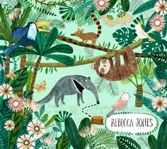 tropical illustration by Rebecca Jones Art And Illustration, Watercolor Illustration, Design Illustrations, Jungle Art, Jungle Animals, Animal Sketches, Animal Drawings, Tropical Animals, Animal Paintings