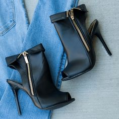 Show Yourself Zipper Bootie Heels