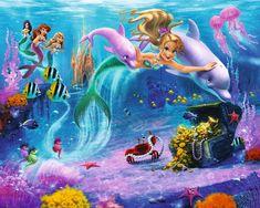 Modern Disney Princess Mermaid Wall Stickers Murals in Teenage . Childrens Wall Murals, Childrens Room Decor, Mermaid Wallpapers, Disney Bedrooms, Mermaid Pictures, Mermaid Images, Adventure Of The Seas, Modern Disney, Kids Wallpaper