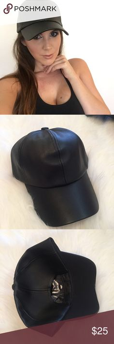 Black Leather Baseball Cap Black Leather Baseball Hat. Brand new. Never worn. No flaws. Velcro closure. No trades. Bundle for discount. Accessories Hats