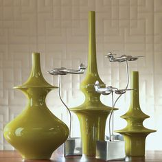 """Conference Room Table - pair with orange small Minaret Vase-Green-Med 7.5""""Dia. x 14""""H"""